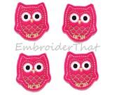 UNCUT  Hot Pink and Green Felt Owl applique embellishments feltie (4)