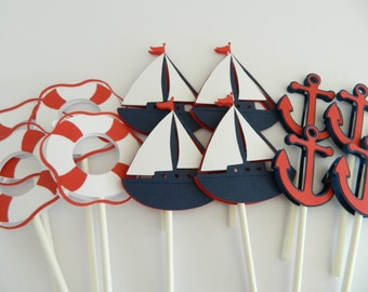 24 (3 Designs) Nautical Cupcake Toppers, Cupcake Toppers, Sailboat Cupcake Toppers, Anchor Cupcake Toppers