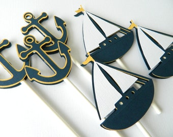 12 Nautical Cupcake Toppers Nautical First Birthday Nautical Baby Shower Sailboat Anchor Cupcake Toppers • Set of 12