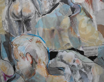 Original figure study, paper collage of sketchbook images on watercolour paper, 14 X 20, Figure 31