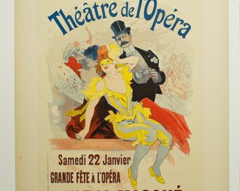 Jules Cheret, Original Maitres de L'Affiche Poster, French 1898, Plate No.105. Ad for the 1st. Masked Bal to benefit the Paris Opera in1898.