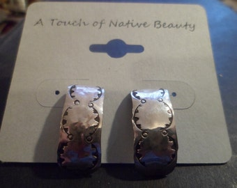 Authentic Navajo,Native American,Southwestern,sterling silver,vintage look stamped stud earrings.Made to order.