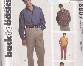McCalls 6807 Vintage Pattern Mens T-Shirt, Shirt, Pants and Shorts Size 38-40 (Medium) Uncut)