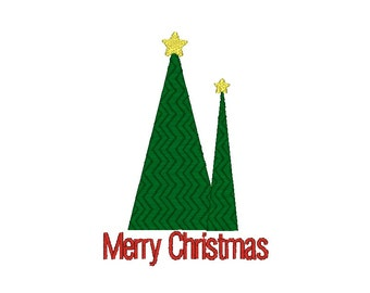 Merry Christmas Tree Machine Embroidery Design