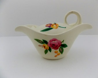 Sugar Bowl by Steubenville  pattern is Horison    Sugar Bowl with flower  flowered dish with lid
