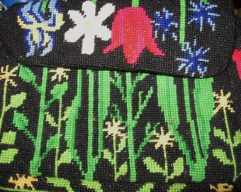 SALE Vintage 1970 Needlepoint Small Purse in Floral Design.  Includes shipping and Price has been reduced!