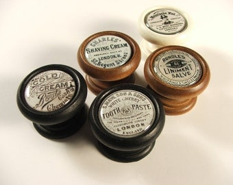 Vintage Pharmacy Jar Reproduction Wood Cabinet Knobs, Pulls, Handles...Quantity Discounts Available!