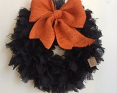 Halloween Wreath, Burlap Halloween Wreath, Fall Wreath,  Black Wreath, Black and Orange Wreath, Black Burlap Wreath