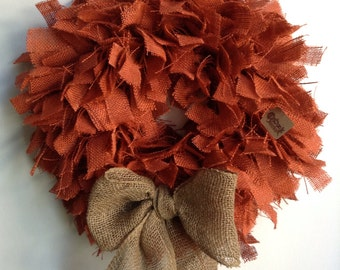 "Fall Burlap Wreath, 19"" , Halloween Wreath, Orange Wreath, Thanksgiving Wreath, Fall Wreath, Autumn Wreath, Thanksgiving Wreath"