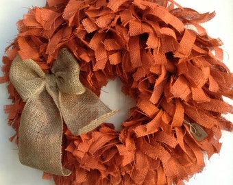 "26"",  Fall Wreath, Fall Burlap Wreath, Autumn Wreath, Halloween Wreath, Orange Wreath, Tan Wreath, Thanksgiving Wreath"