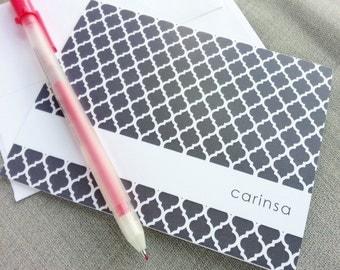 Bespoke Notecards | Classy Stationary | Custom Folded Note Cards | Cute Personalized Stationery | Hostess Gift | QUATREFOIL PATTERN