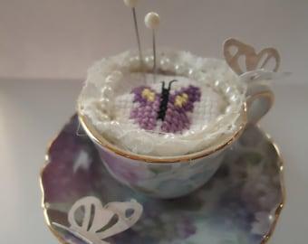Miniature Tea Cup Pin Keep (butterflies)