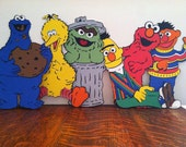 "Sesame Street's The Whole Gang - Set of (6) - 11"" Centerpiece Picks or Decorations With Colorful Cardstock On The Back Of Each Character"