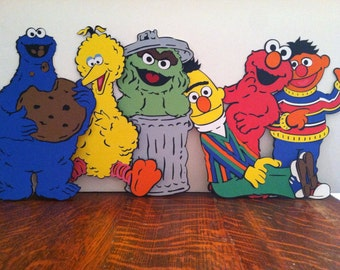 """Sesame Street's The Whole Gang - Set of (6) - 11"""" Centerpiece Picks or Decorations With Colorful Cardstock On The Back Of Each Character"""