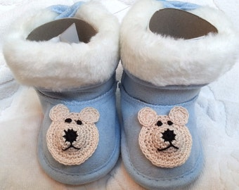 Boys Baby Infant Blue Faux Suede Fur  Boots Slippers - Handmade Teddy Bear Face -   Sizes 3-6, 6-9 and 9-12 months