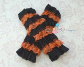 Black and Orange Ruffle Petti  Lace leg warmers, leg warmers, newborn leg warmers, Petti Leg warmers, halloween legwarmers,Thanksgiving