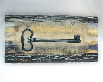 Shabby Chic Mixed Media Work of Art: Encaustic Key