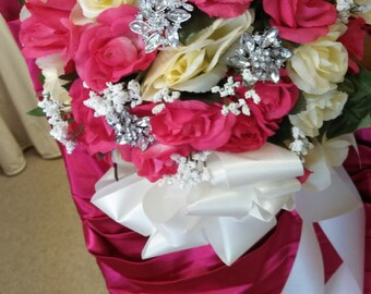 Ivory and fuchsia wedding brooch bouquet. Other colors available.