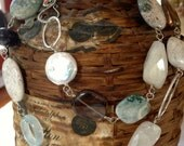 handmade one of a kind ocean jasper, smoky quartz, aquamarine, pearl, topaz, quartz, and fine silver necklace necklace by ladeDAH jewely