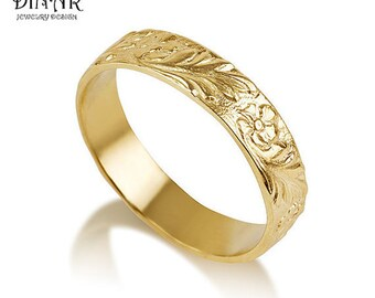 14k yellow Gold flower Wedding Band ring, handmade engraved flowers wedding ring ,women's single band ,handmade wedding band, Texture ring