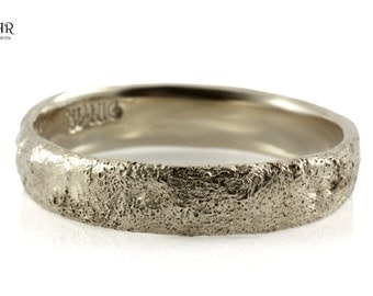 14k white Gold, hammered wedding band, tree bark texture Wedding ring, solid Gold ,men's single band ,Antique design, women's wedding ring