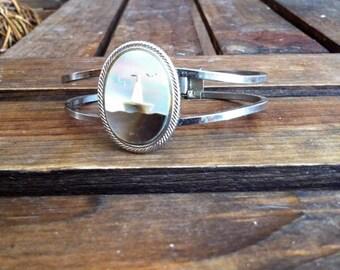 Vintage Mother Of Pearl Ship Bracelet