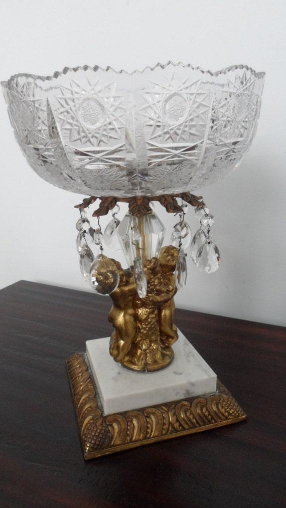 Eapg cut glass bowl pedestal centerpiece gold gilt lucite