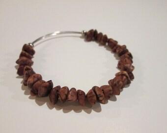 Leopard Jasper expandable beaded wire bangle bracelet