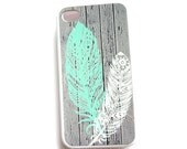 iPhone 6, iphone 5s, iPhone 4 iphone 4S Galaxy S4 Case, Feathers Mint, Ships from USA