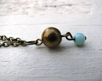 Antiqued Brass Pendant Necklace, Turquoise and Brass, Eco-Friendly Jewelry, Upcycled, Boho Layering Necklace, 16 1/2 inch Chain, Earthy