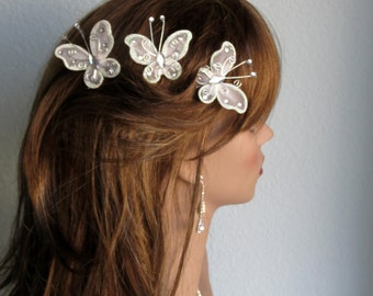 Set Of 3 Bridal Butterfly Bobby Pins- Wedding Bobby Pins - Wedding Accessory-Silver Butterfly