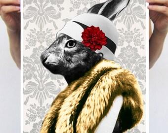 Rabbit Print, Rabbit Art Print, Rabbit Bunny Print, Rabbit Art, Bunny Print, Rabbit Wall Art, Grey, Rabbit Artwork, Wall Art,Art Print,Lady
