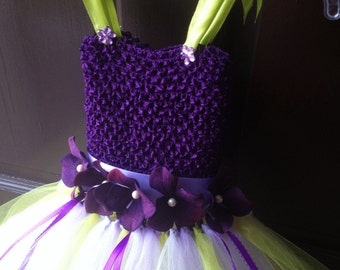 Girl knee length Flowergirl dress in Eggplant purple, green,lilac,flower belt ties  in back Sizes 4t- Girls 12