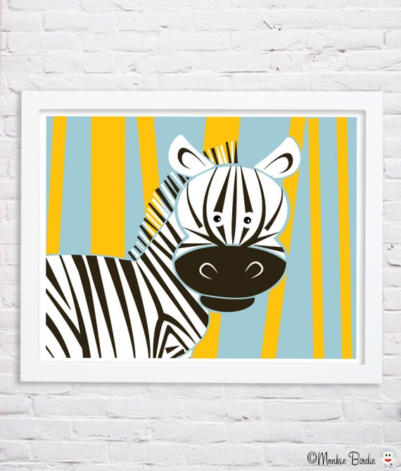 Zebra nursery art print jungle animals nursery by monkiebirdie