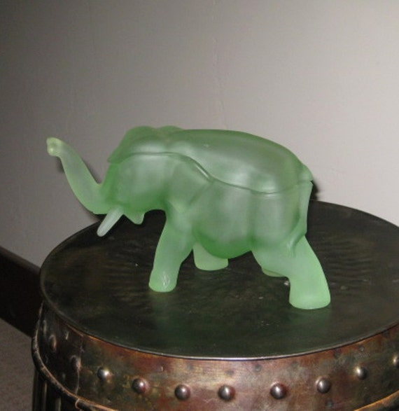 Vintage Glass Elephant Figurine Green By Riverhouseartpottery