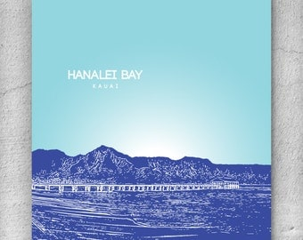 Hanalei Bay Kauai Hawaii Skyline Poster / Home, Office or Nursery Wall Art Poster / Any City or Landmark