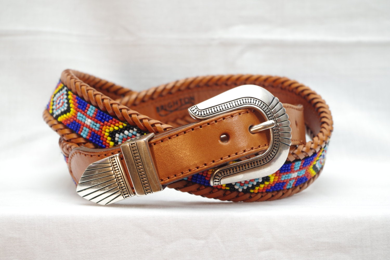 Brighton Beaded Western Leather Belt Size 38 Aztec Tribal