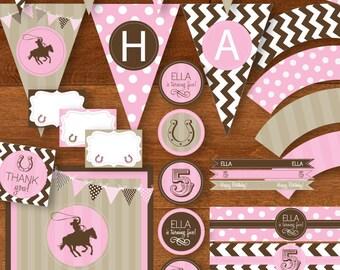 Cowgirl Birthday Party Printable Package - DIY - Pink, Brown, Tan / Khaki - Chevron Stripes, Polka Dots, Stripes, Pennants