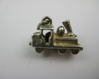 Vintage English Sterling Train Charm Bracelet Pendant Jewelry