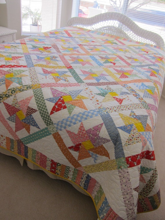King Size 1930s Reproduction Pinwheel Quilt