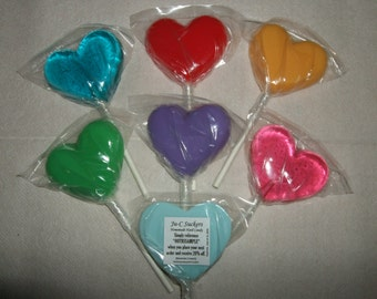 1 dz Hard Candy Heart Shaped Lollipop Valentine Party Favors w/ Personalized Back Labels