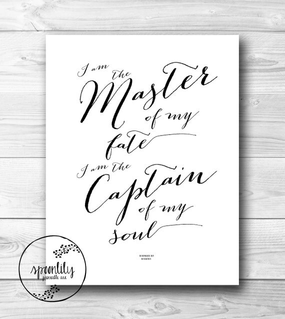 Famous Quotes For Wall Art : Famous quote typography art print invictus by spoonlily