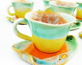 Set cups coffee ceramic stoneware pottery green six cup   - unique handmade created with love to enamel colours -  yellow turquoise orange - Artmika
