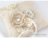 READY TO SHIP Wedding Ring Pillow with Lace  Brooches Crystals Handmade Flowers in Tan, Champagne and Ivory