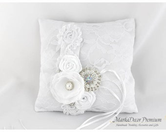White Ring Pillow Wedding Lace Ring Pillow Custom Bridal Bearer Brooch Flower Pillow in White