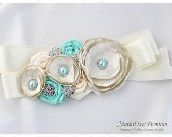 Bridal Custom Sash / Wedding Bridesmaids Belt in Ivory, Aqua Mint, Antique Ivory with Brooches, Beads, Pearls, Crystals, Jewels,  Flowers