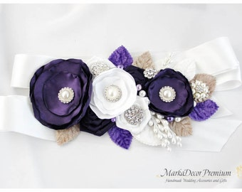Bridal Sash / Custom Wedding Bridesmaids Belt in Lapis, Purple, Tan,  White with Brooches, Beads, Pearls, Crystals, Jewels, Handmade Flowers