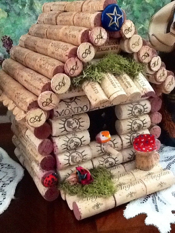 Wine cork birdhouse wine theme one of a kind for How to build a birdhouse out of wine corks