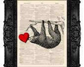 Sloth Art Print SLOTH LOVE Dictionary Art Print on Dictionary Paper Art Book Page Art Animal Love Art Sloth Nursery Art  Print Heart Art 380