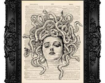 Medusa Art Print, Dictionary Art Print, Medusa Head Art, Dictionary Print, Vintage Upcycled Antique Book Page 38
